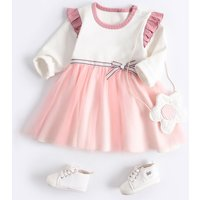 Attractive Flounced Bow Tulle Long-sleeve Dress for Baby Girl