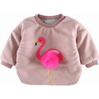 Unique Embroidered Flamingo Pompon Decor Cotton Pullover for Baby