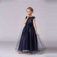 Girl's Wedding Party Pageant Birthday Dress Elegant Sequin Floral Overlay Maxi Dress in Navy