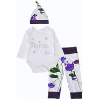 3-piece Lovely Floral Bodysuit, Pants and Hat Set for Baby