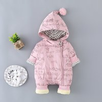 Latest Stars and Letters Print Hooded Jumpsuit Long-sleeve for Babies