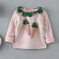 Lovely Appliqued Carrot Back Button Top for Baby Girl