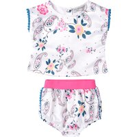 Baby Girl's Sweet 2-piece Floral Sleeveless Tee and Panties Set in White