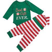 Baby 3-piece Christmas Theme Printed Long Sleeve Bodysuit, Stripes Pants and Hat Set
