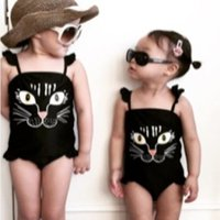 Adorable Cat One-piece Swimsuit in Black Baby and Toddler Girls