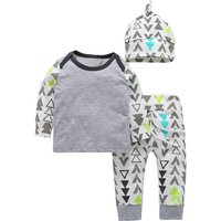 3-piece Adorable GEO Pattern Long Sleeve Bodysuit, Pants and Hat Set in Grey