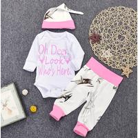 3-piece Deer Print Bodysuit, Pants and Hat Set for Baby
