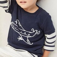 Baby and Toddler Boy's Cute Patterned Faux-two Long Sleeve Tee in Dark Blue