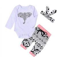 3-piece Elephant Patterned Long Sleeve Bodysuit, Pants and Headband Set for Baby Girls