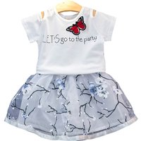 Sweet Short-sleeve Top and Skirt  Set for Baby Girl