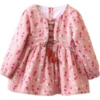 Sweet and Cute Cherry Pattern Crisscross Tassels Long-sleeve Dress for Toddler and Girls