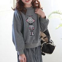Girl's Cute Robot Printed Long Sleeve Pullover in Grey