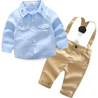 Handsome Embroidered Shirt and Suspender Pants Set for Baby Boy