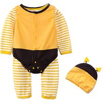 Lovely 3-piece Striped Jumpsuit, Strawberry Bodysuit and Hat for Baby