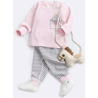 Lovely Long-sleeve T-shirt and Striped Pants Set for Baby