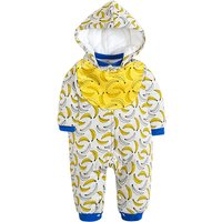 Adorable Banana Print Rib Cuff Hooded Jumpsuit for Baby