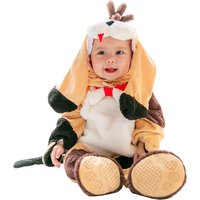 Adorable Puppy Design Long Sleeves Jumpsuit with Hat and Shoes in Yellow for Baby