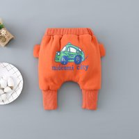 Fun Car Print Ribbed Cuff Pants for Baby