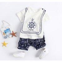 Baby Boy's Anchor Printed Short-sleeve Tee and Shorts Set
