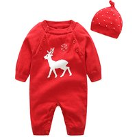 Cheerful Reindeer Print Long-sleeve Jumpsuit with a Hat for Baby