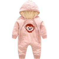 Lovely Dotted Animal Print Hooded Jumpsuit for Baby