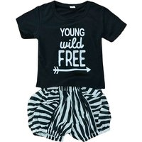 2-piece Girl's Letter Printed Short-sleeve Tee and Stripes Shorts Set