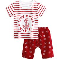 Baby Marine Style Printed Short-sleeve T-shirt and Shorts Set in Red