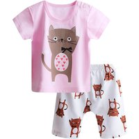 Baby Lovely Cat Printed Short-sleeve Tee and Shorts Set