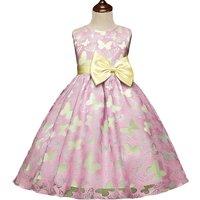 Stunning Butterfly Pattern Bow Belted Sleeveless Dress for Toddler Girl/Girl