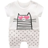 Adorable Cat Print Dotted Romper for Baby