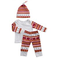 Baby 3-piece Christmas Printed Long Sleeve Top, Pants and Hat Set