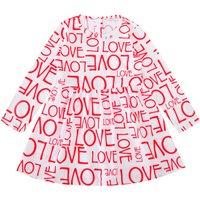 Allover Love Letter Print Long-sleeve Dress in White for Baby and Toddler Girls