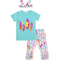 Baby Girl's Colorful Feather Printed Short-sleeve Tee, Pants and Headband Set