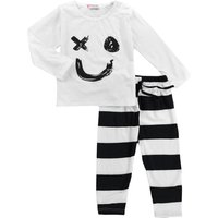 Baby Adorable Face Long Sleeve Tee and Stripes Pants Set