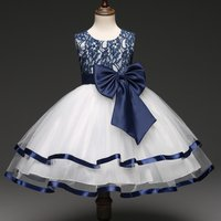 Elegant Sleeveless Princess Tulle Dress in Blue for Girls