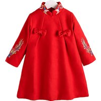 Baby Girl's Vintage Embroidered Cheongsam Dress in Red
