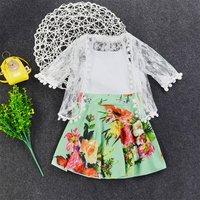 Sweet 2-sets Flower Printed Sleeveless Dress in White for Baby Girl