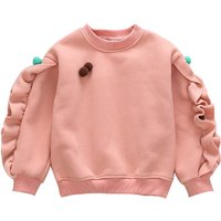 Flounce Sleeves Solid Pullover for Baby and Toddler Girls