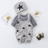 3-piece Striped Long Sleeve Top, Star Patterned Suspender Pants and Hat Set for Baby