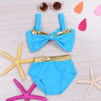 Cute Bow Swimming Top and Bottom Set for Baby and Toddler Girl