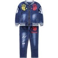 Handsome Palm Print Zip-up Denim Jacket and Jeans Set for Kid
