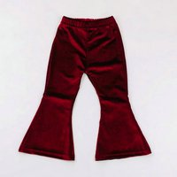 Elegant Solid Pleuche Christmas Pants for Baby Girls
