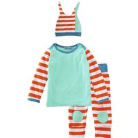 Bright Striped T-shirt, Pants and Hat Set for Baby