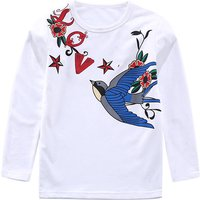 Cute Swallow Print Long-sleeve T-shirt for Girl