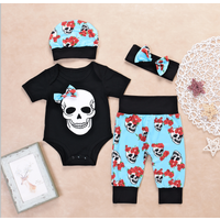 4-piece Skull Print Bodysuit, Patterned Pants, Hat and Headband Set for Baby Girl