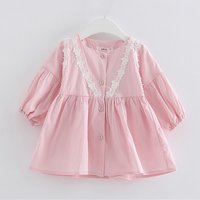 Sweet Long Sleeves Dress with Lace for Baby Girls
