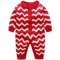 Cute Block Stripes One Piece in Red for Babies
