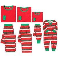 Stripes Contrast Christmas Family Matching  Pajamas Set