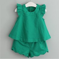 Fashionable 2-pieces Ruffled Hem and Shorts Set for Toddler Girls