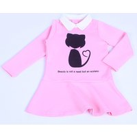 Cute Cat Print Peter Pan Collar Long-sleeve Dress in Pink for Baby and Toddler Girls